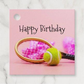Tennis ball birthday with racket  birthday  favor  favor tags