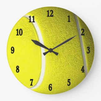 Tennis Ball Black Numbers Round Sport Wall Clock