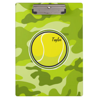 Tennis Ball; bright green camo, camouflage Clipboard