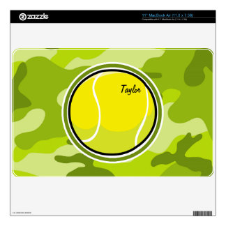 Tennis Ball; bright green camo, camouflage Decals For The MacBook