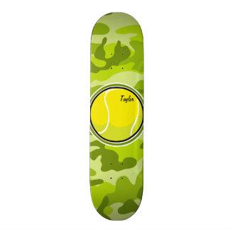 Tennis Ball; bright green camo, camouflage Skate Decks