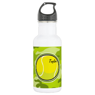 Tennis Ball; bright green camo, camouflage Stainless Steel Water Bottle