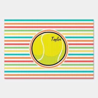 Tennis Ball; Bright Rainbow Stripes Lawn Sign