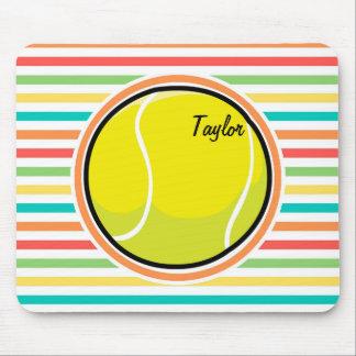 Tennis Ball; Bright Rainbow Stripes Mouse Pad