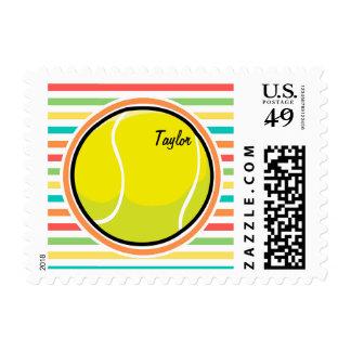 Tennis Ball; Bright Rainbow Stripes Postage Stamp
