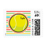 Tennis Ball; Bright Rainbow Stripes Postage Stamp