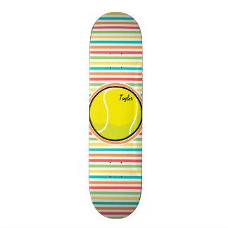 Tennis Ball; Bright Rainbow Stripes Skateboards