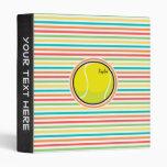 Tennis Ball; Bright Rainbow Stripes Vinyl Binders