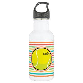 Tennis Ball; Bright Rainbow Stripes Water Bottle