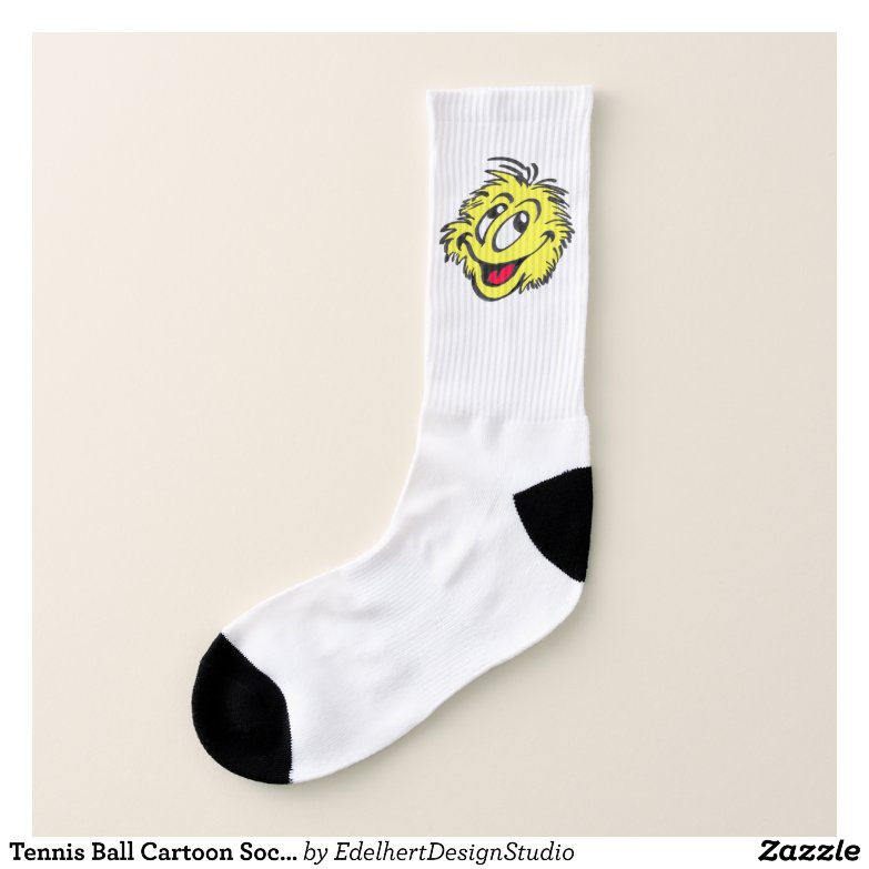 Tennis Ball Cartoon Socks