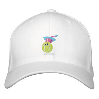 Tennis ball character embroidered baseball cap