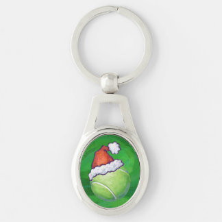 Tennis Ball Christmas Green Silver-Colored Oval Metal Keychain
