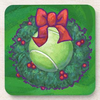 Tennis Ball Christmas Wreath on Green Coaster