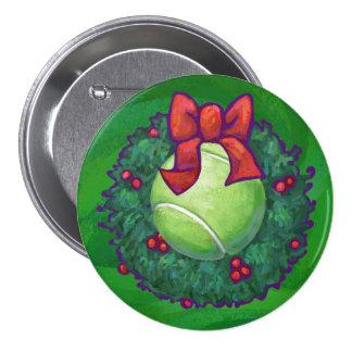 Tennis Ball Christmas Wreath on Green Pinback Button