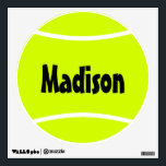 """Tennis Ball Custom Name/Text Wall Decal<br><div class=""""desc"""">Tennis Ball Custom Name/Text Wall Decal: Create a personalized tennis ball wall decal by clicking &quot;Personalize this template&quot; and typing any text (tennis team name,  player name,  slogan,  etc.) in the custom text box. Makes a great decoration for a tennis player&#39;s bedroom,  tennis team locker room and facilities,  etc.</div>"""