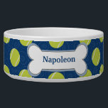 "Tennis Ball Customized Dog Food Bowl - Navy Blue<br><div class=""desc"">Super cute dog food bowl featuring fun tennis balls and a dog bone with your dog&#39;s name in the bone.</div>"