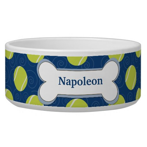 Tennis Ball Customized Dog Food Bowl - Navy Blue