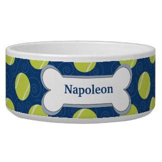 Tennis Ball Customized Dog Food Bowl - Navy Blue