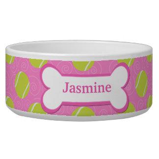 Tennis Ball Customized Pet Dog Food Bowl - Pink