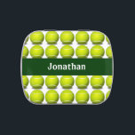 "Tennis Ball Design Party Favor Candy Container Candy Tin<br><div class=""desc"">Tennis Ball Sports Design Party Favor Candy Container with customizable text.  For no text,  delete sample text and leave blank.</div>"