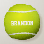 "Tennis Ball Design Round Pillow<br><div class=""desc"">Tennis Ball Design Round Pillow with customizable personalization.</div>"