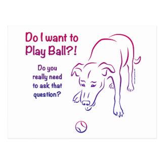 Tennis Ball Dog Postcard