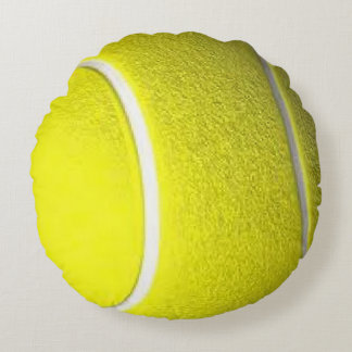 Tennis Ball Front Solid Yellow Back Round Pillow