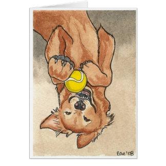 Tennis Ball Fun Golden Retriever Dog Art Card