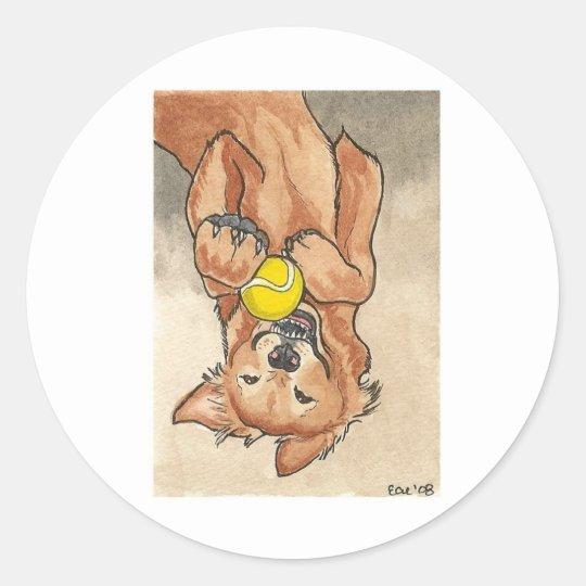 Tennis Ball Fun Golden Retriever Dog Art Classic Round Sticker