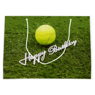 Tennis ball happy birthday for tennis player large gift bag