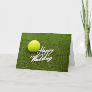 Tennis ball happy wedding for tennis player card