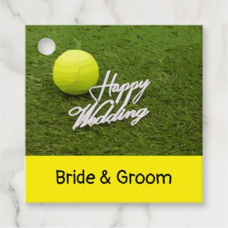 Tennis ball happy wedding hand writting favor tags