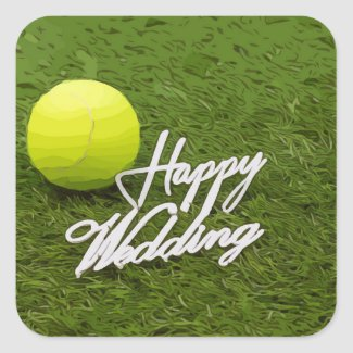 Tennis ball happy wedding hand writting square sticker