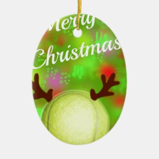 Tennis ball have horns in Holidays Ceramic Ornament