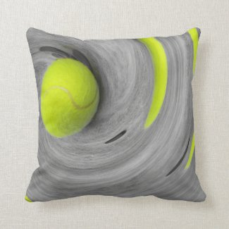 Tennis ball in spinning on the court moving motion throw pillow