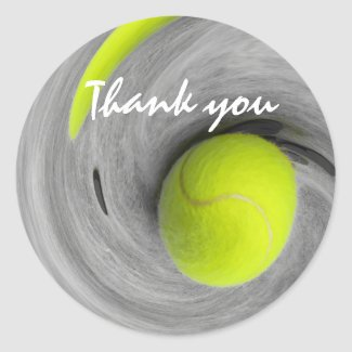 Tennis ball in spinning on the court thank you classic round sticker