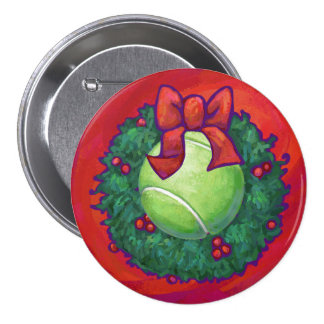 Tennis Ball in Wreath on Red Button