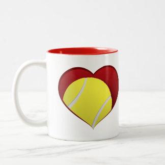 Tennis Ball Inside Heart Two-tone Mug