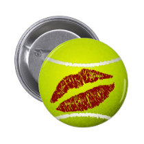 Tennis ball kiss pinback button