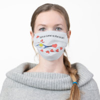 Tennis ball Life is better on the court with love Adult Cloth Face Mask