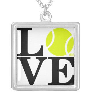 Tennis Ball Square Pendant Necklace