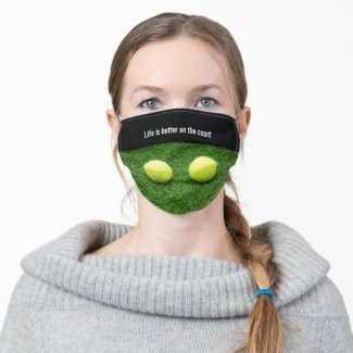 Tennis ball on black background life on court cloth face mask