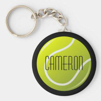 Tennis ball on black background personalized name keychain
