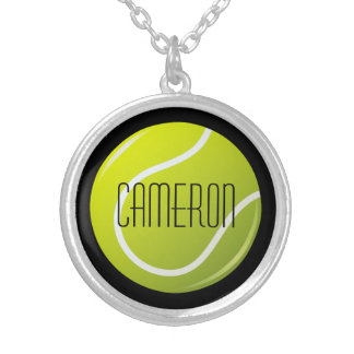 Tennis ball on black background personalized name round pendant necklace