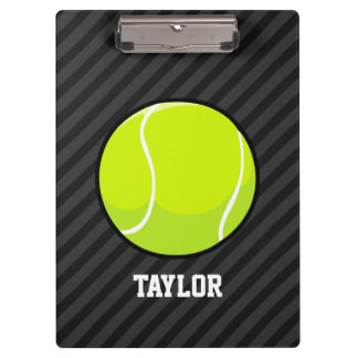 Tennis Ball on Black & Dark Gray Stripes Clipboards