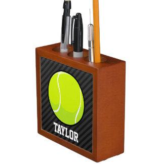 Tennis Ball on Black & Dark Gray Stripes Pencil/Pen Holder