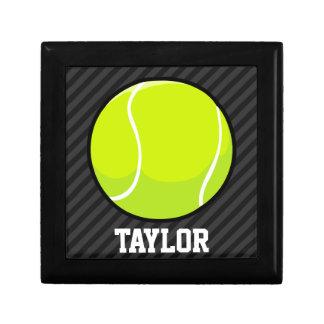 Tennis Ball on Black & Dark Gray Stripes Keepsake Box