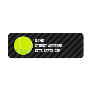 Tennis Ball on Black & Dark Gray Stripes Label