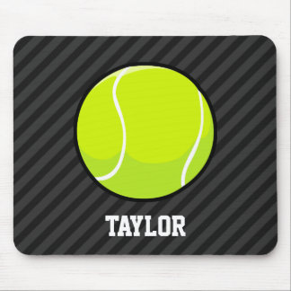 Tennis Ball on Black & Dark Gray Stripes Mouse Pad