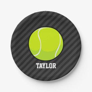 Tennis Ball on Black u0026 Dark Gray Stripes Paper Plate & Tennis Girl Plates | Zazzle